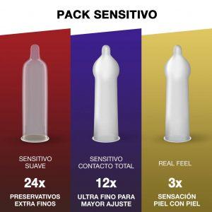 Juguetes sexuales para parejas - Packs de preservativos - Preservativos Pack sensitivo de Durex con diferentes estilos