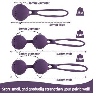 Bolas chinas para ejercicios de Kegel y entrenamiento del suelo pélvico - Bolas chinas Ravlove por tamaños