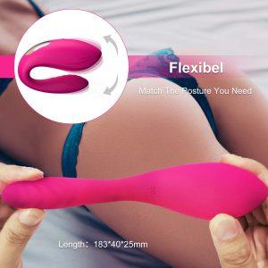 Juguetes sexuales para parejas - Vibradores con control remoto y mando - Rosa Vibrador con mando para parejas flexible