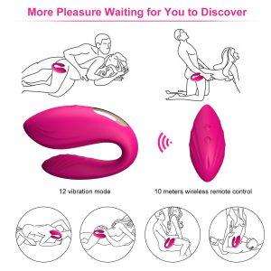 Juguetes sexuales para parejas - Vibradores con control remoto y mando - Rosa Vibrador con mando para parejas con posturas