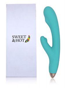 Vibradores de doble cabezal - Vibradores para mujeres - Consoladores de conejito - Vibrador Sexual Femenino Recargable con USB Sweet&Hot