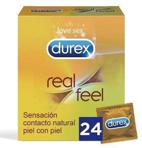 Preservativos sin látex - Preservativos Durex - Condones Durex sin látex real feel 24