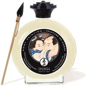 Productos sexuales para parejas - Pinturas comestibles para parejas - Pinturas corporal Shunga para bodypainting de chocolate blanco